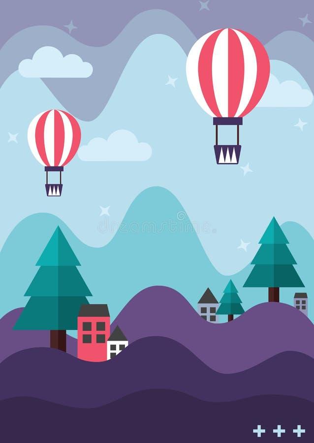 Purpere berg en turkooise groene pijnboomboom met huizen en leuke ballons die in de pastelkleur blauwe hemel drijven royalty-vrije illustratie