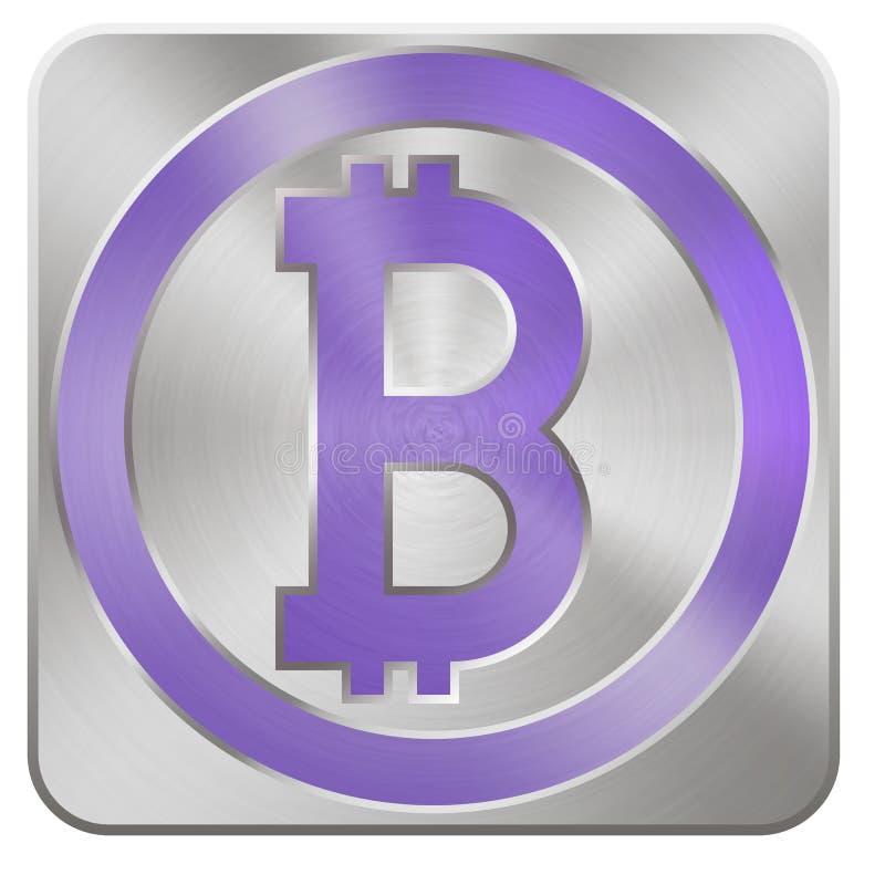 Purpere bitcoin op zilveren knoop in metaalstijl voor Internet mone vector illustratie