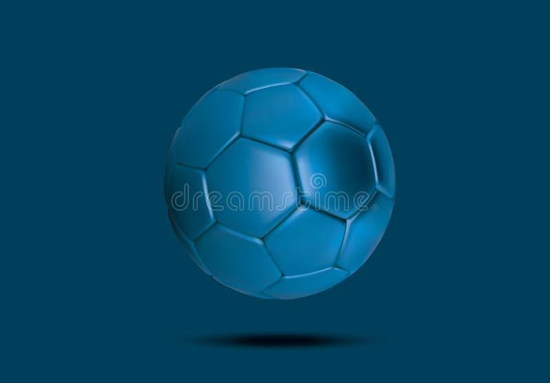 Purpere blauwe voetbalbal op blauwe achtergrond Realistische 3d Blauwe voetbalbal Blauwe voetbalbal stock illustratie