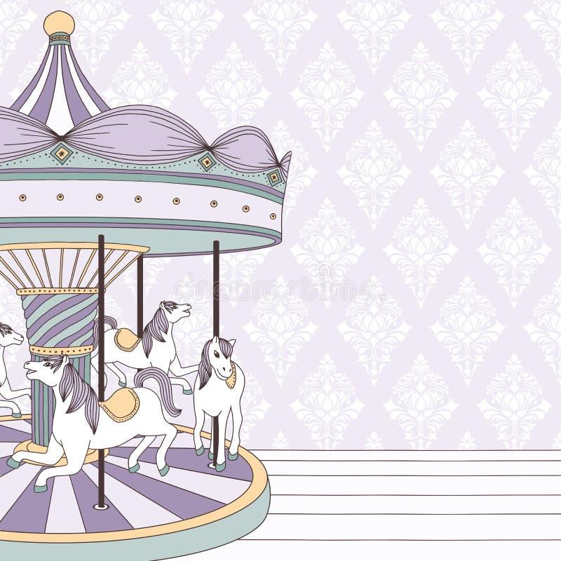 Purpere carrousel met paarden stock illustratie