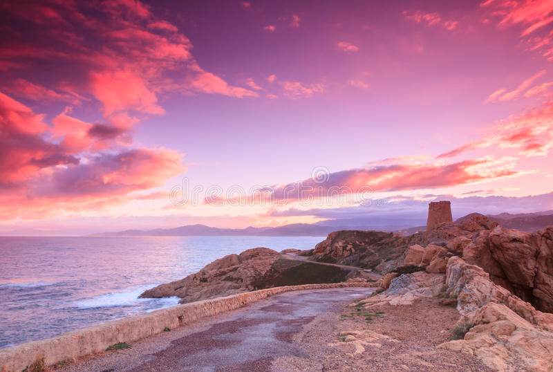 Purpere dageraad, Ile Rousse, Corsica royalty-vrije stock fotografie