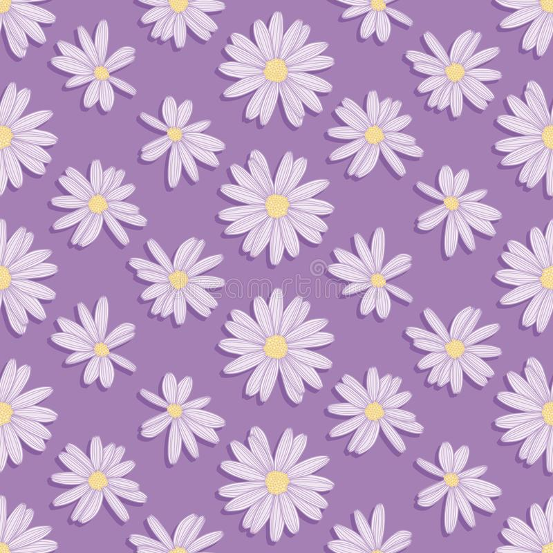 Purpere Daisy Flower Seamless Vector Pattern stock illustratie