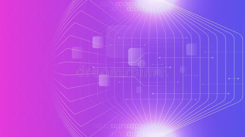 Purpere de kleuren abstracte achtergrond van technologie cyber stock illustratie