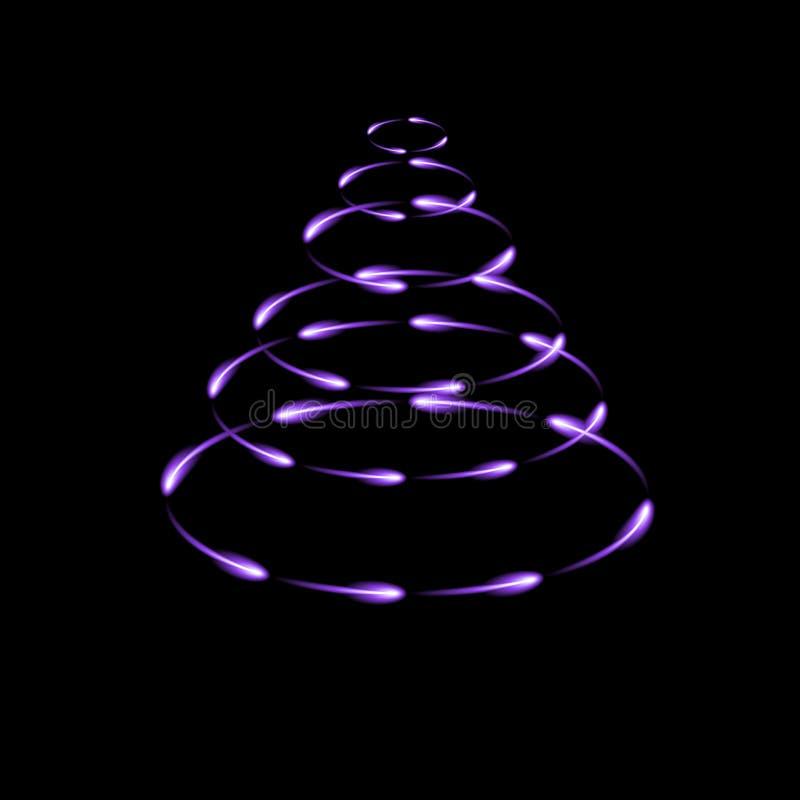 Purpere die kegel door vliegende gloeiende glimwormen, moderne Kerstmisboom, donkere achtergrond wordt gemaakt vector illustratie