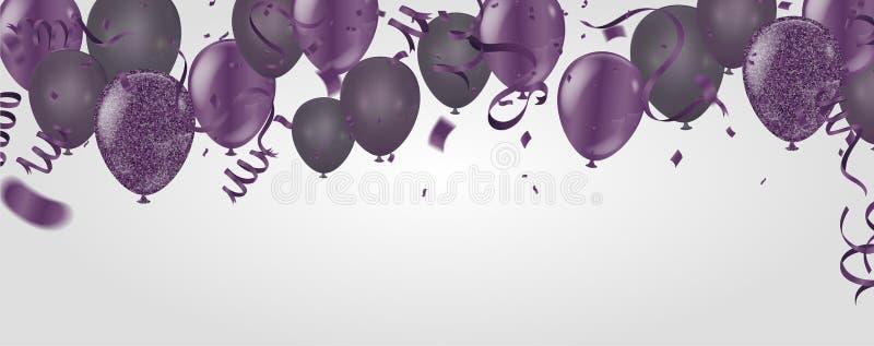 purpere die transparant met de ballon van het confettienhelium in wordt geïsoleerd royalty-vrije illustratie