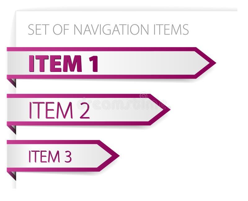 Purpere document pijlen - moderne navigatiepunten royalty-vrije illustratie