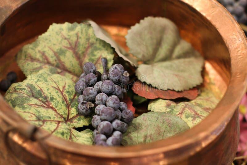 Purpere druiven in een gouden kom royalty-vrije stock afbeeldingen