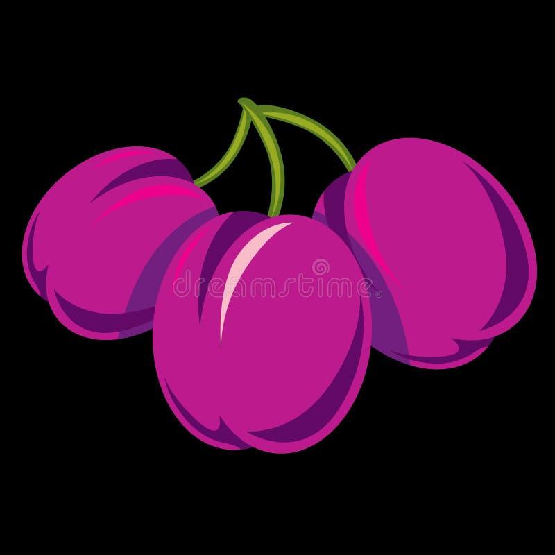 Purpere eenvoudige vectorpruimen, rijpe zoete vruchten illustratie Gezond en natuurvoeding royalty-vrije illustratie