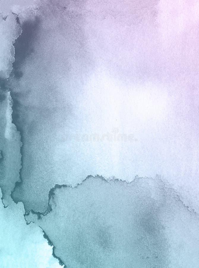 Purpere en blauwe het document van de waterverftextuur achtergrond, mooie creatieve planeet royalty-vrije stock foto's