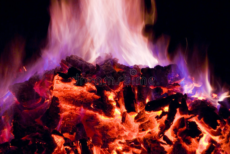 Purpere en Blauwe Vlammen van Brand royalty-vrije stock foto's