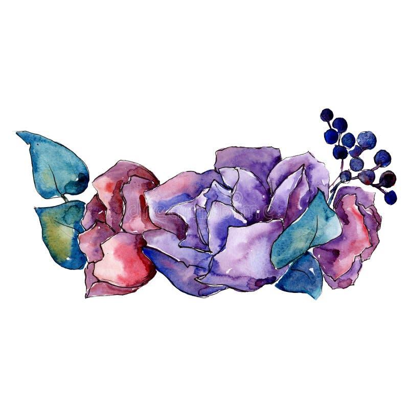 Purpere en rode bloemen met blauwe bladeren Het geïsoleerde element van de boeketillustratie Waterverf achtergrondillustratiereek royalty-vrije illustratie