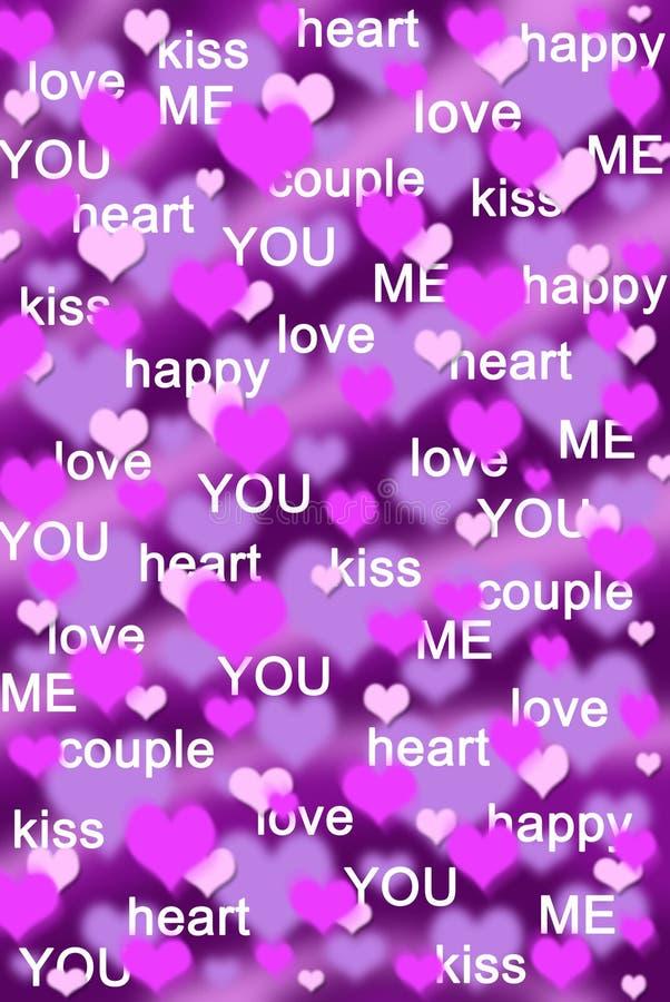 Purpere en roze hartenachtergrond met liefdewoorden stock illustratie