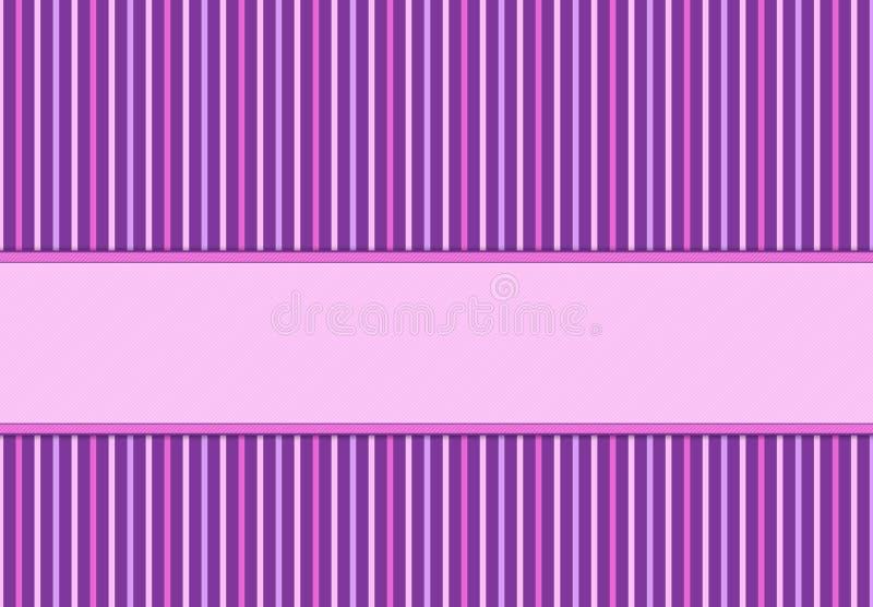 Purpere en roze uitnodigingskaart met stippen en strepen stock fotografie