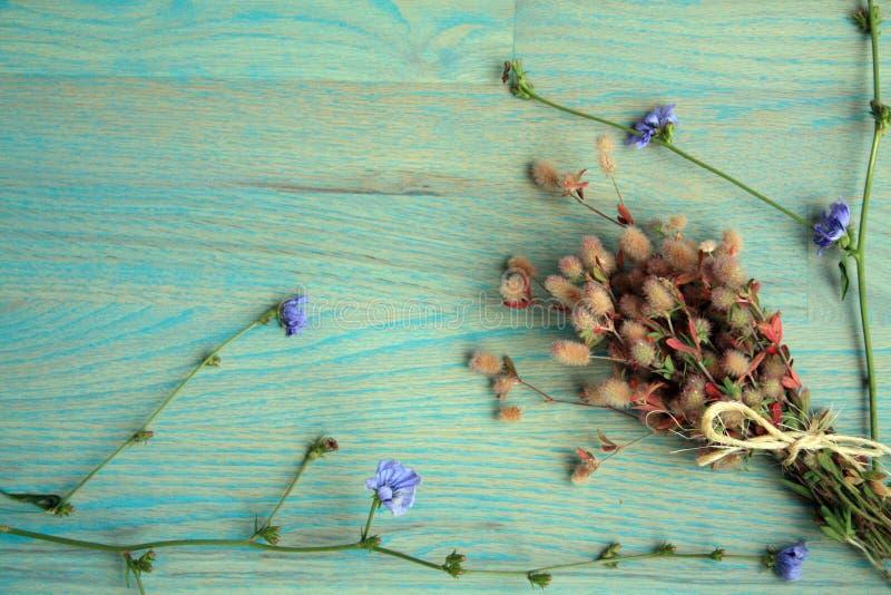 Purpere en roze wilde die bloemen met streng worden gebonden royalty-vrije stock afbeelding