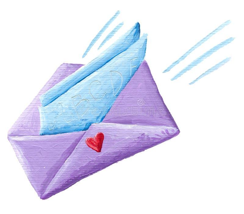 Purpere envelop royalty-vrije illustratie