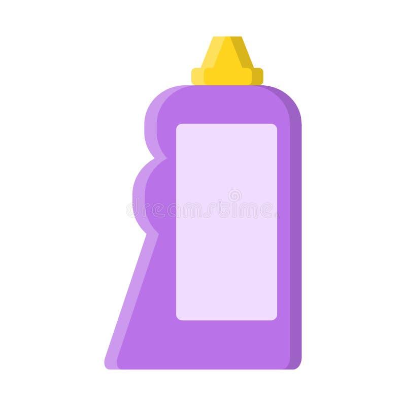 Purpere fles met vloeibare reinigingsmachine in vlakke stijl op wit, voorraad vectorillustratie vector illustratie