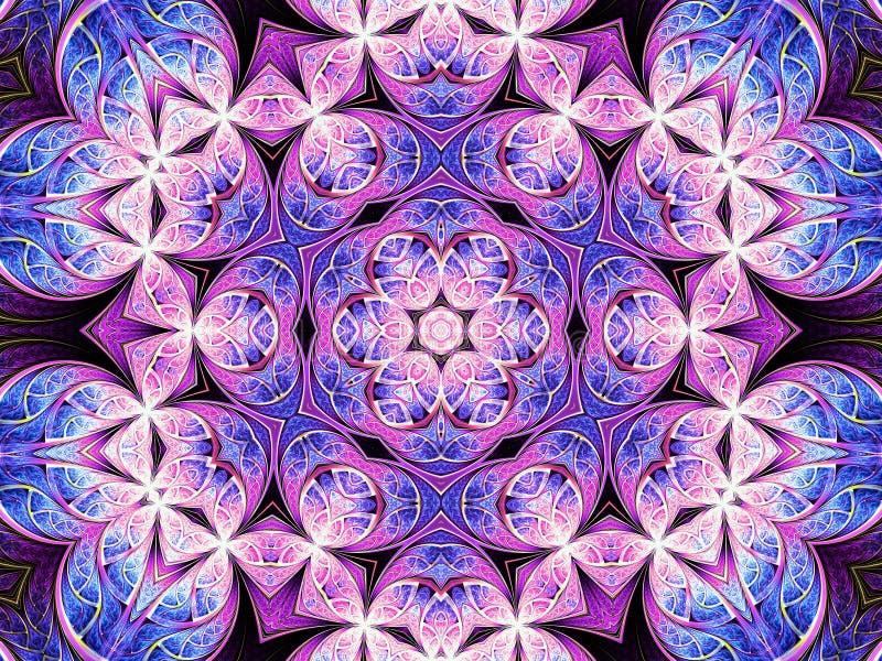 Purpere fractal mandala met bloem in het midden stock illustratie