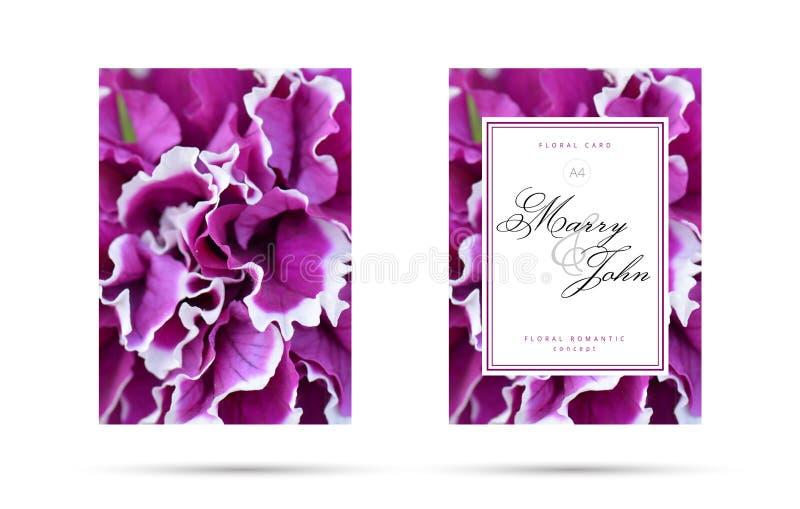 Purpere fuchsiakleurig bloemenkaart voor huwelijksuitnodiging Bloemen Romantisch Bloemconcept als achtergrond voor uw vliegerontw royalty-vrije illustratie