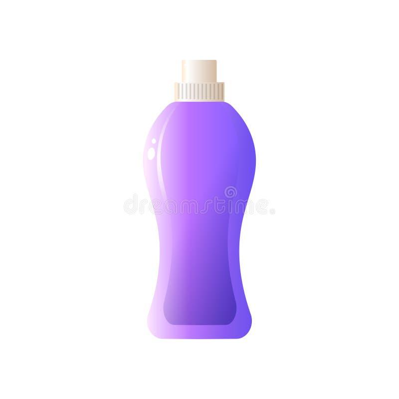 Purpere grote volume plastic fles met vloeibaar detergens voor schotels die op witte achtergrond worden geïsoleerd stock illustratie