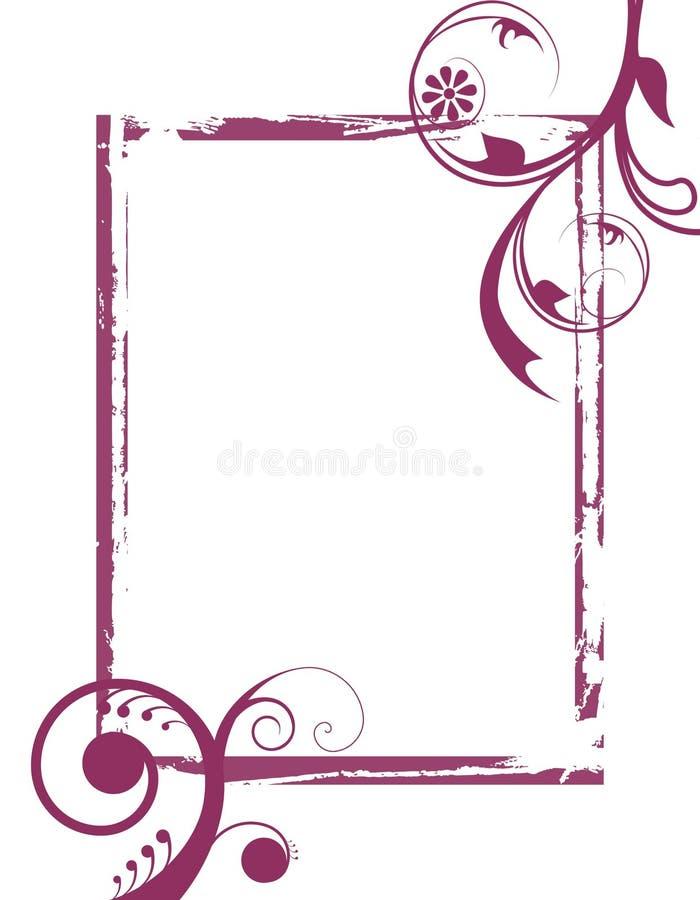 Purpere grunge wervelt frame vector illustratie