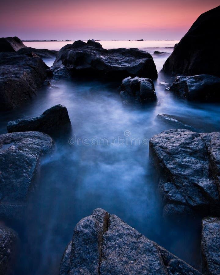 Purpere Guernsey-zonsondergang royalty-vrije stock foto's