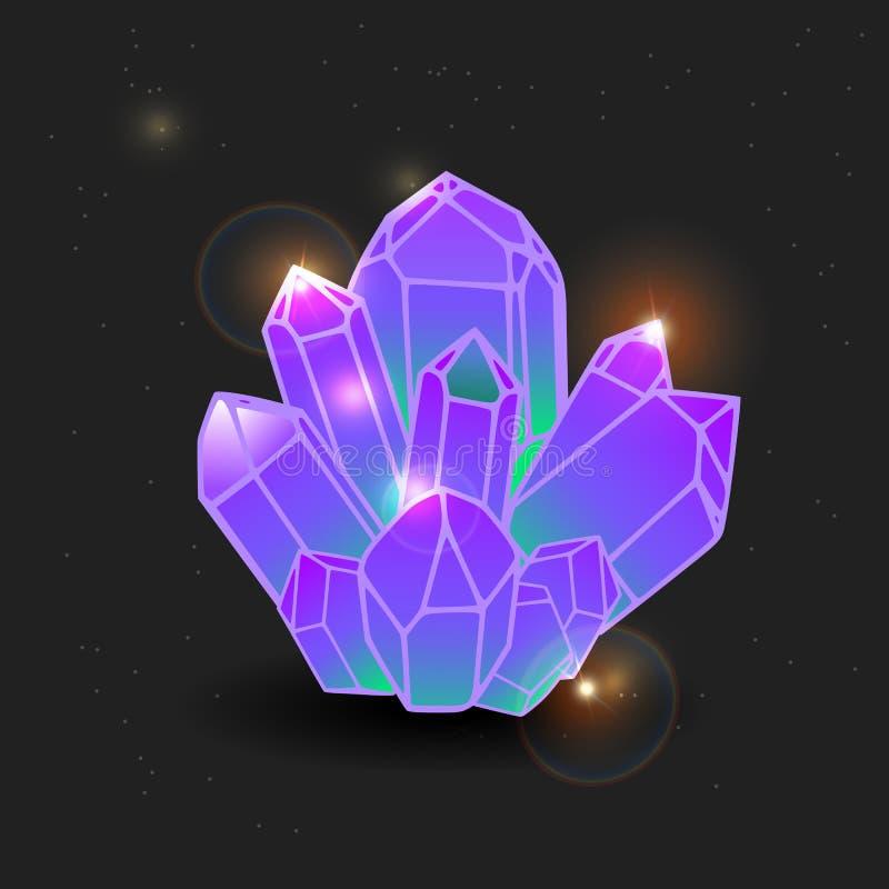 Purpere halfedelsteen, beeldverhaalkristal gemmen en mineraal kristal Vector illustratie Inzameling van decoratiepictogrammen voo royalty-vrije illustratie