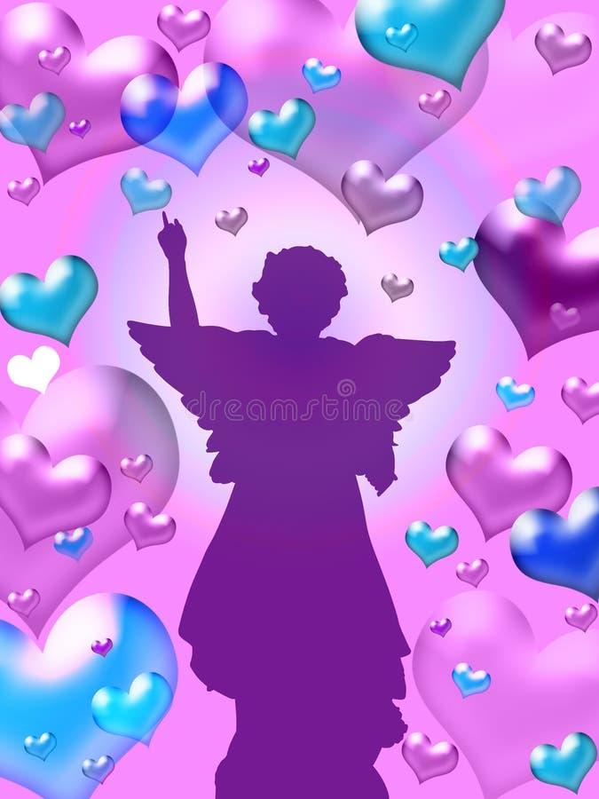 Purpere hartenachtergrond met engel royalty-vrije illustratie