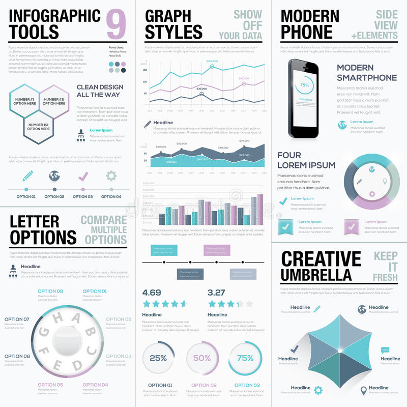 Purpere infographics Bedrijfs vectorelementen, bars en grafieken vector illustratie