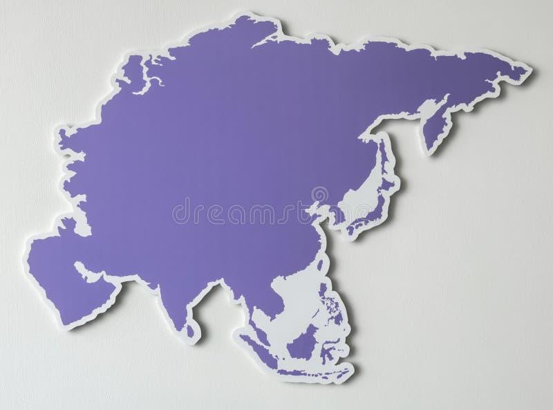 Purpere kaart van het Aziatische continent royalty-vrije illustratie