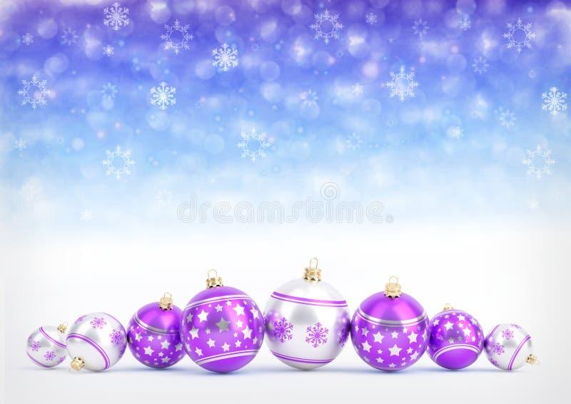 Purpere Kerstmisballen op bokehachtergrond met sneeuwvlokken 3D Illustratie vector illustratie