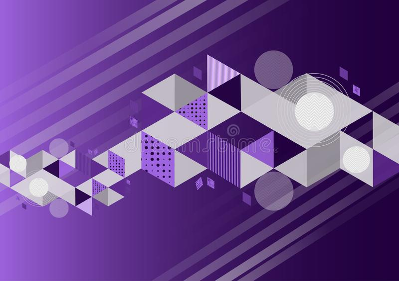 Purpere kleuren geometrische abstracte vectorillustratie als achtergrond met exemplaarruimte stock illustratie