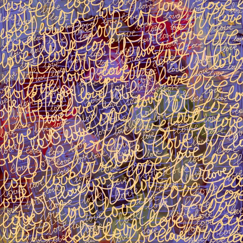 Purpere kleurrijke achtergrond met woorden van liefde Patroon stock illustratie