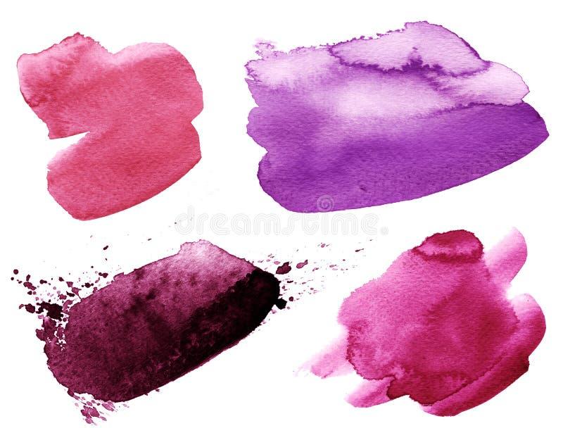 Purpere kleurrijke waterverfhand getrokken slag vector illustratie