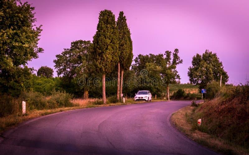 Purpere landschap en plattelandsweg stock foto