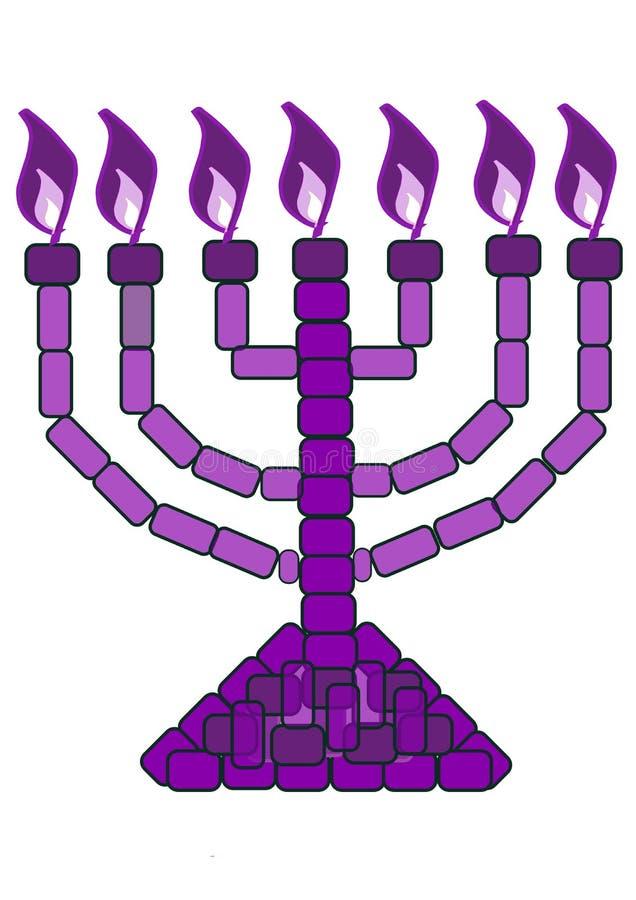 Purpere Menorah - 7 Lampstand royalty-vrije illustratie