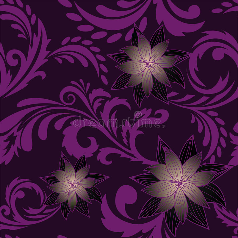 Purpere naadloze achtergrond met bloemen vector illustratie