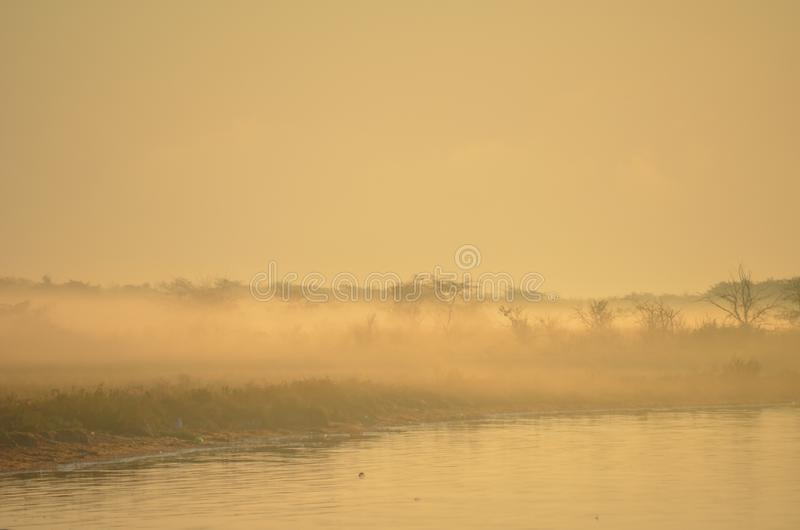 Purpere nevelige zonsopgang over water Zachte nadruk Achtergrond stock foto's