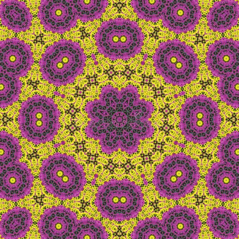 Purpere, rode en gele bloemen op het bloembed vector illustratie