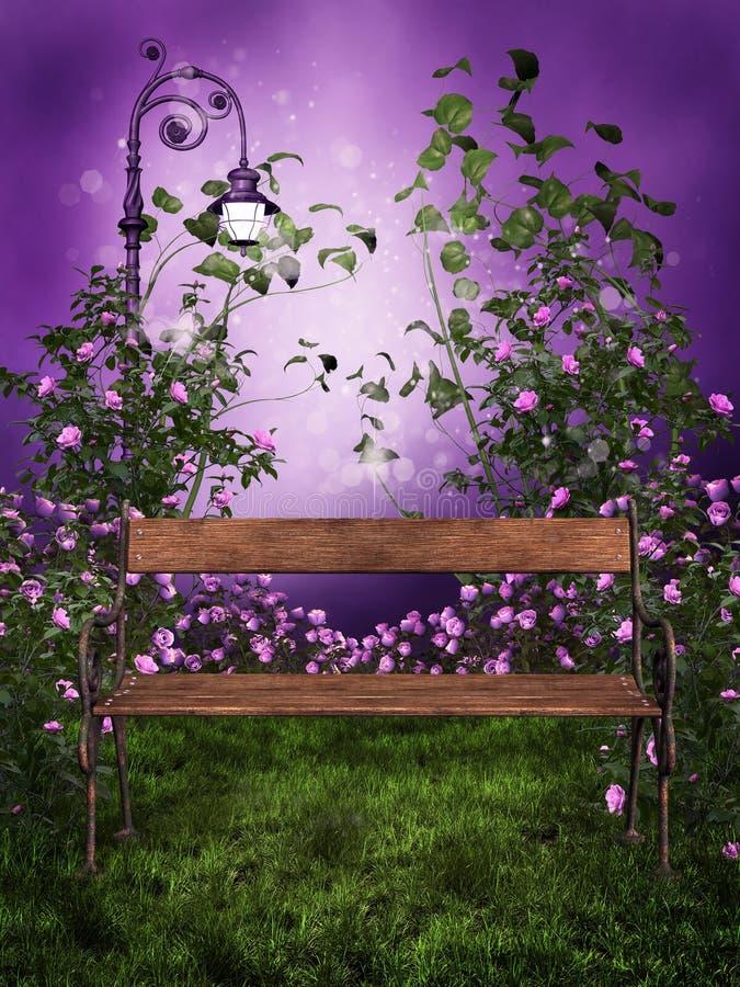 Purpere tuin met een bank stock illustratie
