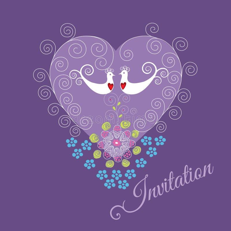 Purpere uitnodiging met twee liefdevogels en hart vector illustratie