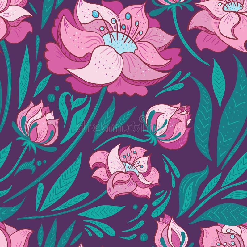Purpere Vectorachtergrond met Roze Bloemen royalty-vrije illustratie