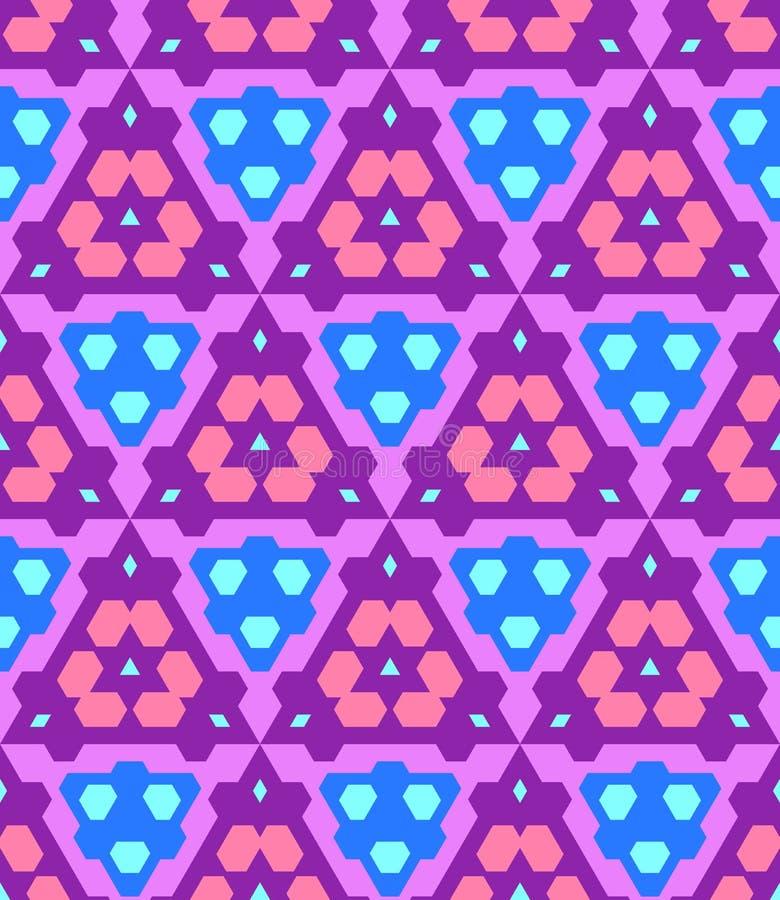 Purpere violette roze blauwe cyaankleur abstract geometrisch naadloos p royalty-vrije illustratie