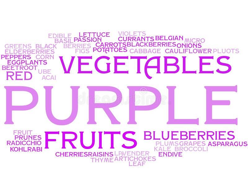 Purpere vruchten en groenten - woordwolk vector illustratie