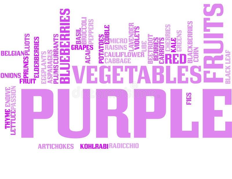 Purpere vruchten en groenten - woordwolk royalty-vrije illustratie