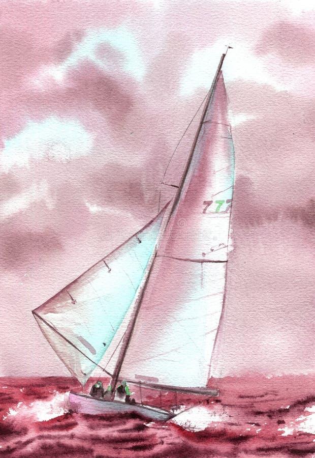 Purpere waterverfboot bij het overzees Hand getrokken illustratie royalty-vrije illustratie