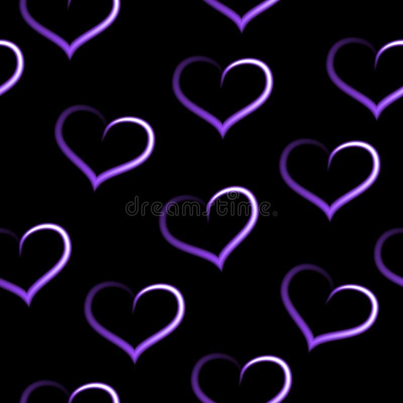 Purpere witte langzaam verdwijnende harten, naadloos liefdepatroon, zwarte achtergrond stock illustratie