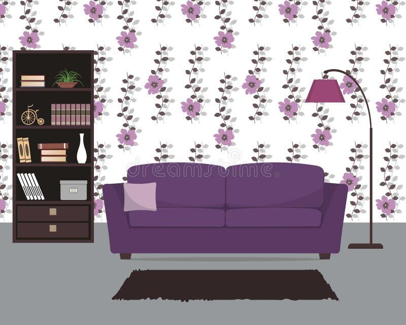 Purpere woonkamer met een bank en een grote lamp royalty-vrije illustratie