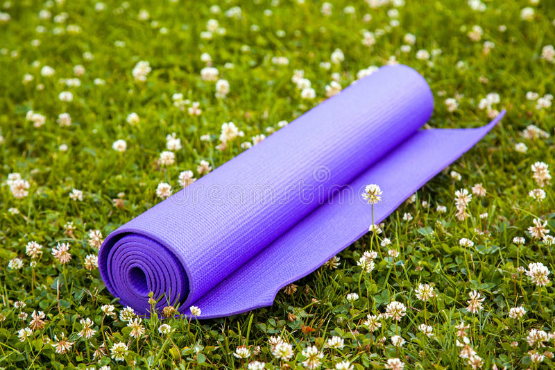 Purpere Yogaoefening Mat On Green Grass stock afbeelding