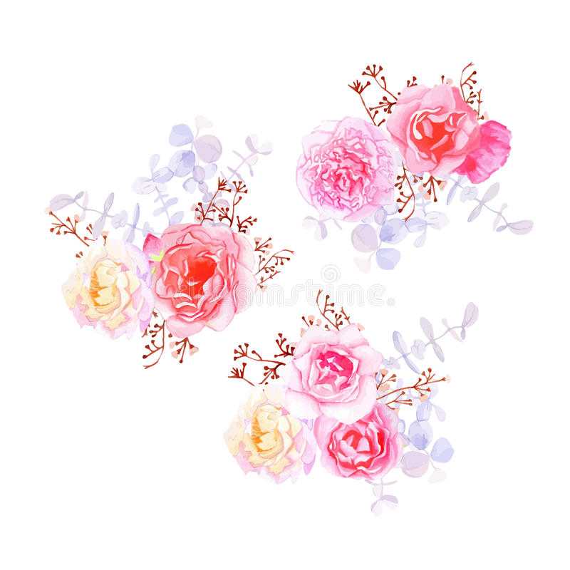 Purpere zoete bloemen Franse gestileerde boeketten royalty-vrije illustratie
