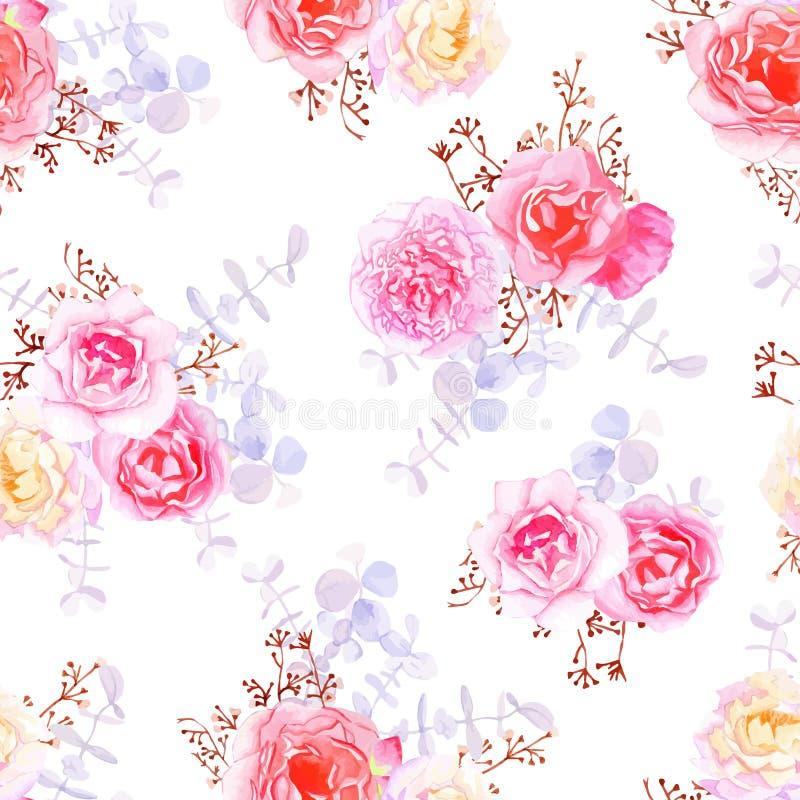 Purpere zoete rozen naadloze vectordruk royalty-vrije illustratie